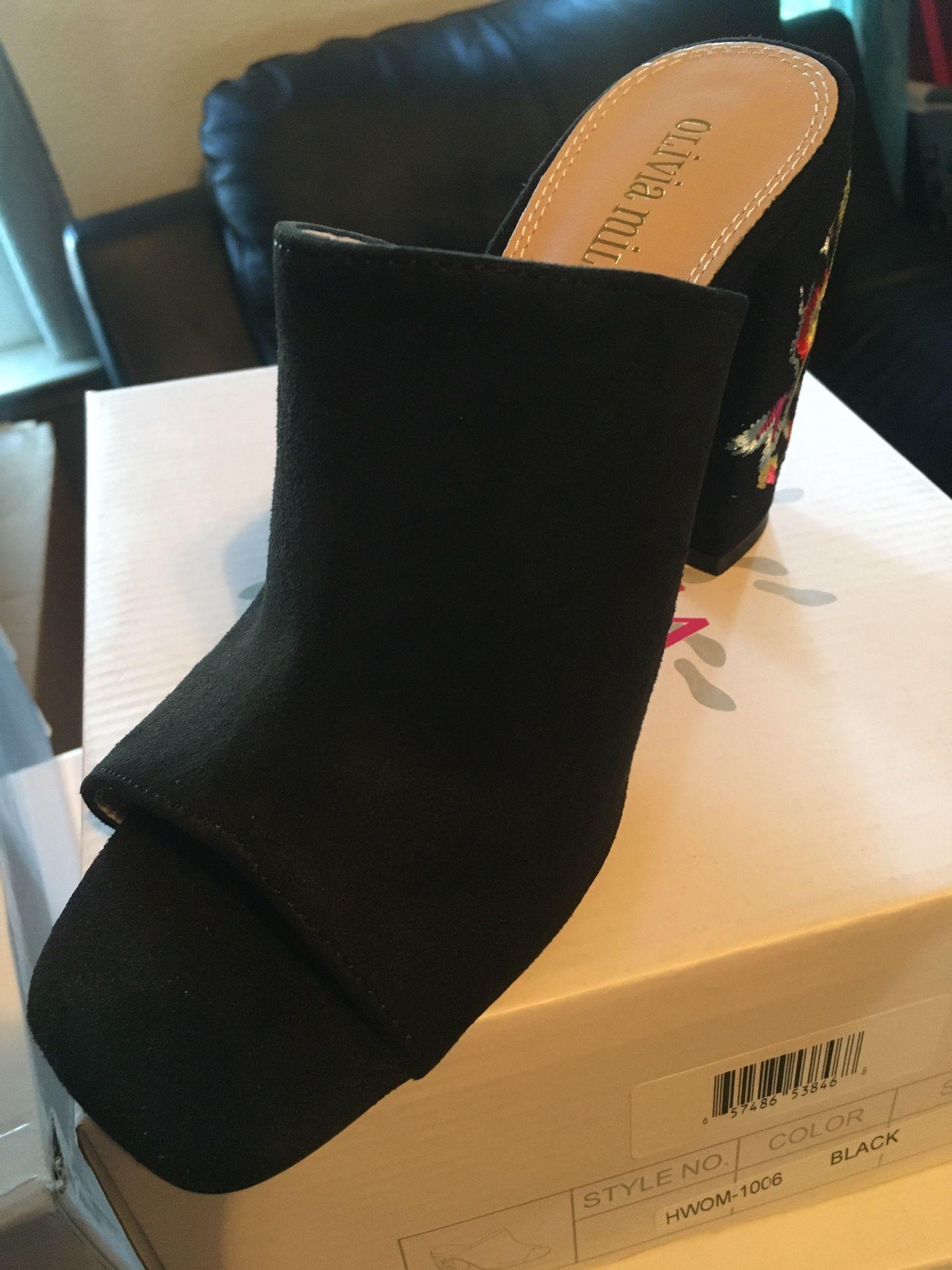 Open toe stitched heels
