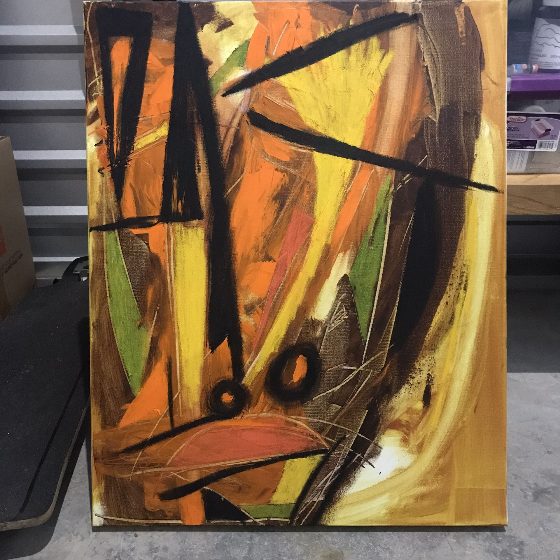 Abstract Acrylic And Oil Stick