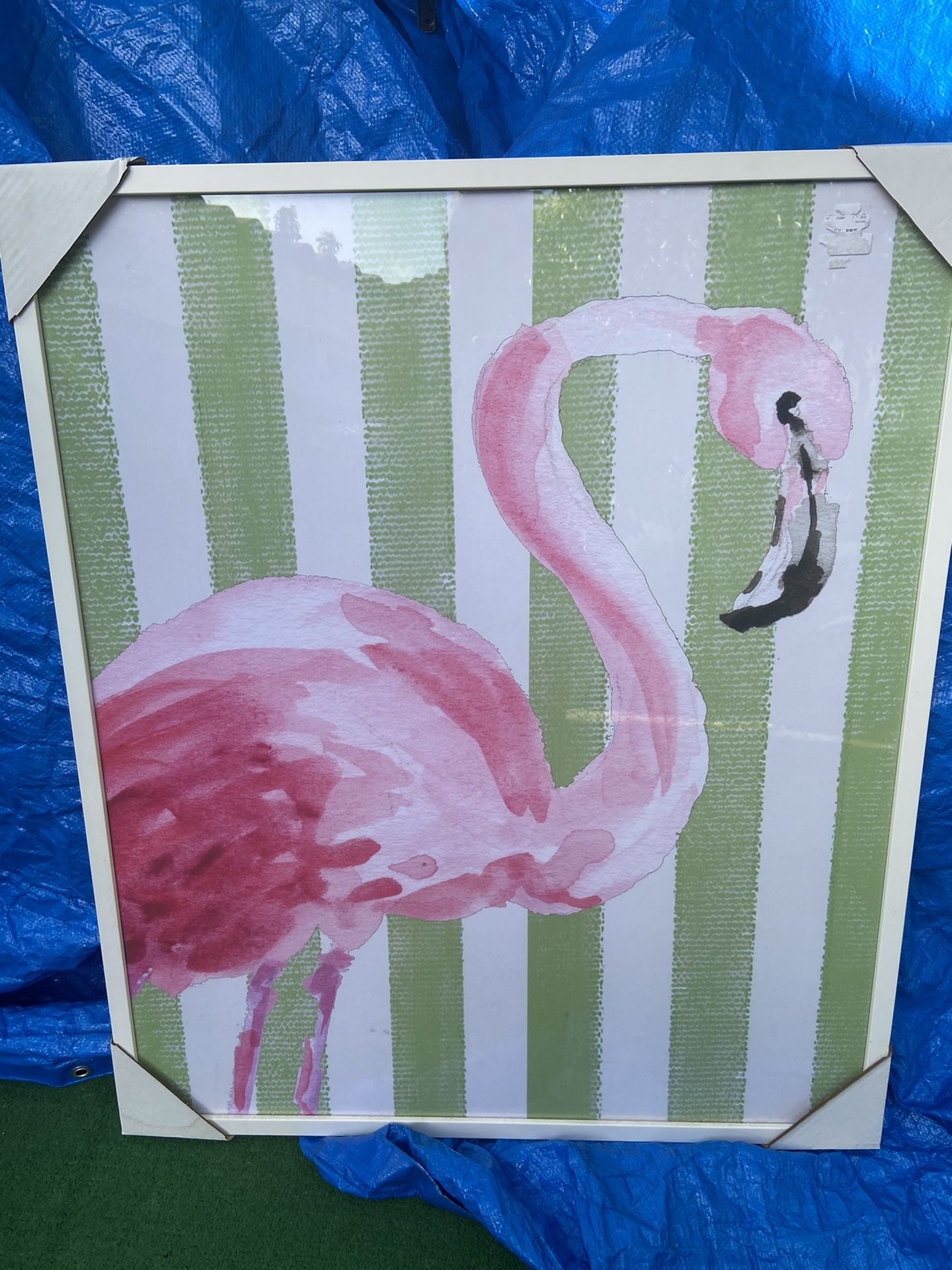 """Picture frame, beautiful piece, new, """"Flamingo"""" Very Caribean, meas. 31 x3720 Only $20 -picture Frame beautiful piece wooden frame, a very relax view,"""