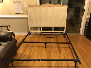 Wicker queen size headboard and metal bed frame for Sale in Manakin-Sabot, VA