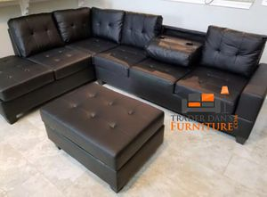 Brand New Black Faux Leather Sectional Sofa Couch + Storage Ottoman for Sale in Washington, DC