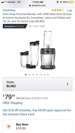 Nutri Ninja Personal Blender with 1000-Watt Auto-iQ Base to Extract Nutrients for Smoothies, Juices and Shakes and 18, 24, and 32-Ounce Cups (BL482) for Sale in Seattle, WA