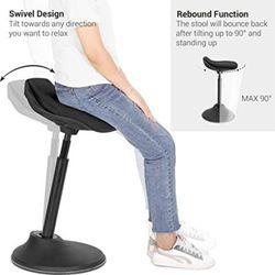 "Standing Desk Chair, Adjustable Ergonomic Standing Stool, 23.6""-33.3"", Swivel Sitting Balance Chair, Anti-Slip Bottom Pad, Black Thumbnail"