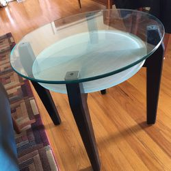 Pair of Round, glass end tables Thumbnail