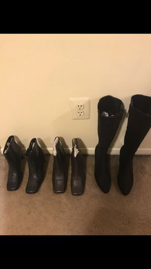 3 pairs ladies boots new size 61/2 one black ankle and one brown ankle by Kenneth Cole one long black used by Calvin Klein for Sale in Gaithersburg, MD