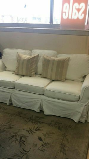 White Cotton Slipcover Sofa from Pottery Barn for Sale in Oakland Park, FL