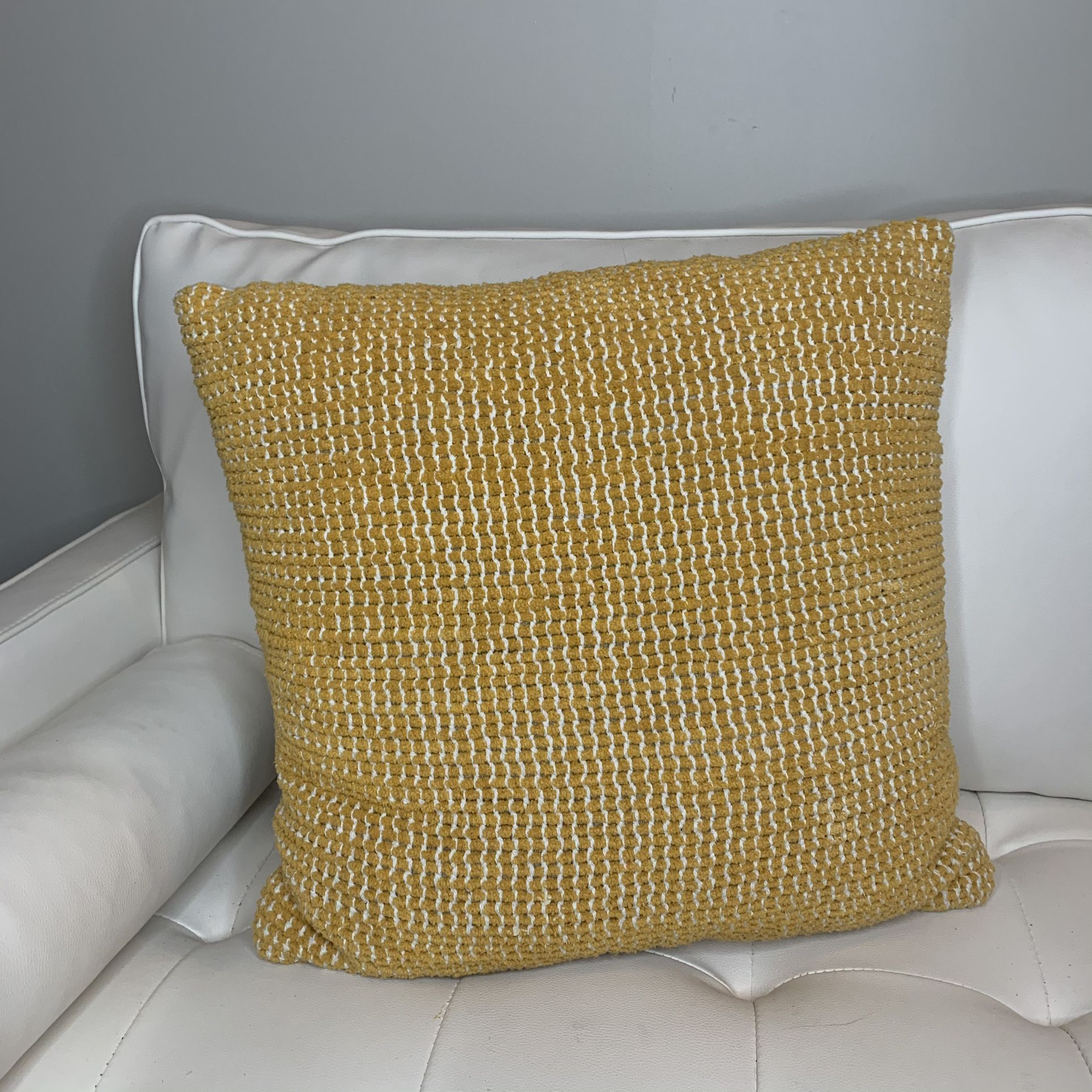 Mustard Color Accent Pillow | Yellow Accent Pillow | Textured Accent Pillow