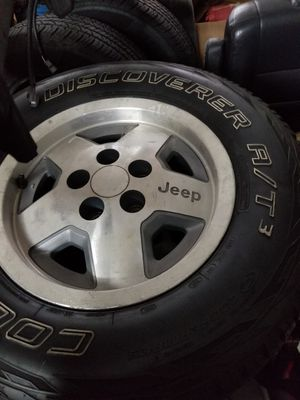 Jeep rims with Cooper at tires 225 70 15 for Sale in Manassas Park, VA