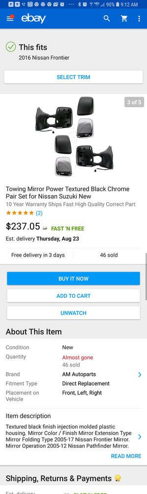 Nissan frontier Towing mirror for Sale in Pittsboro, NC