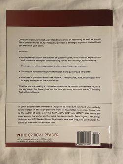 ACT Reading Book, Erica L. Metlzer Thumbnail