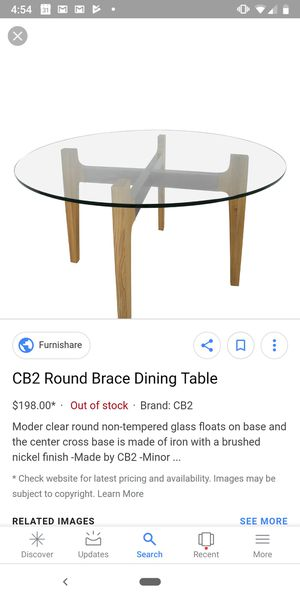 CB2 round glass top table for Sale in Washington, DC