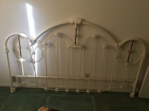 Photo King Bed Baked Enamel and Brass Headboard and Footboard