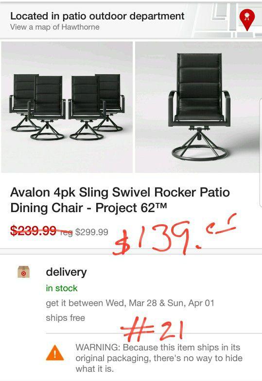 Avalon 4pk Sling Swivel Rocker Patio Dining Chair