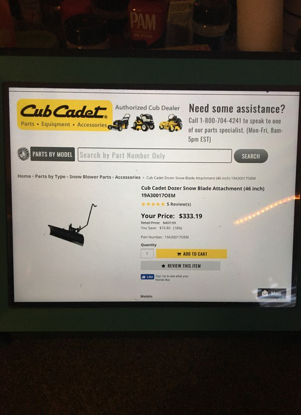 Cub cadet Dozer snow blade 46in 19a300170em for Sale in Troutville, VA -  OfferUp