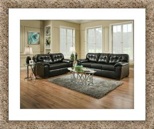 Black bonded leather sofa and love seat brand new for Sale in Rockville, MD