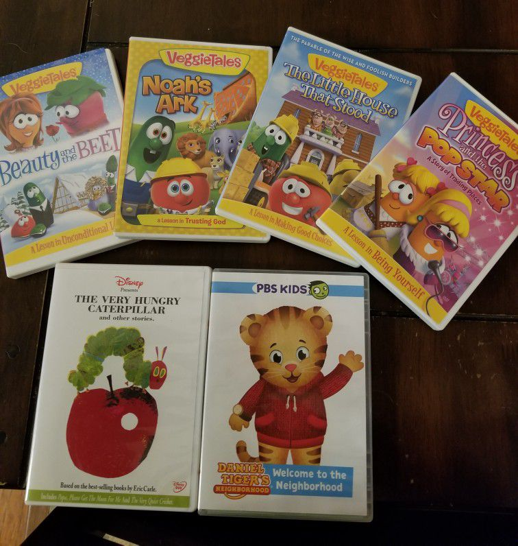 Children'svideos. $3 each or all six for $15