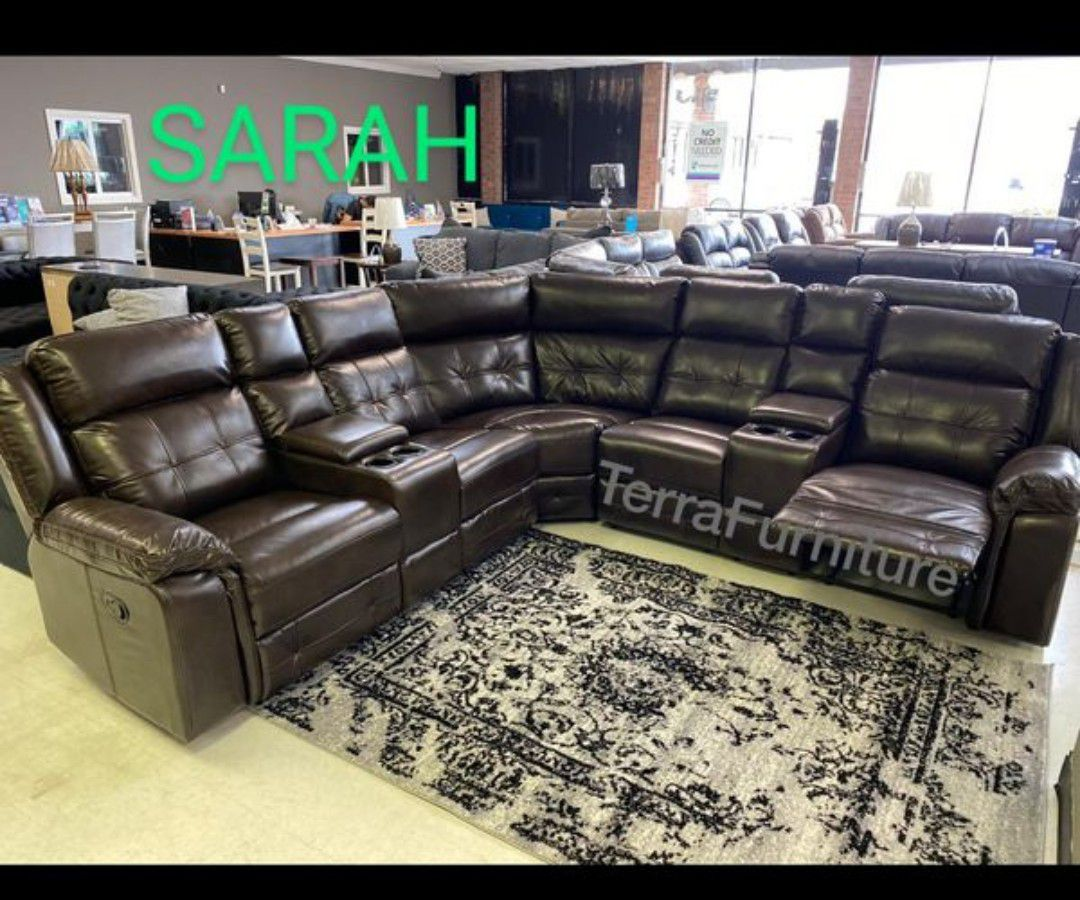 Jacob Brown L Recliner sectional 🍒 $39 Down 🍂🧿SRH 🧿