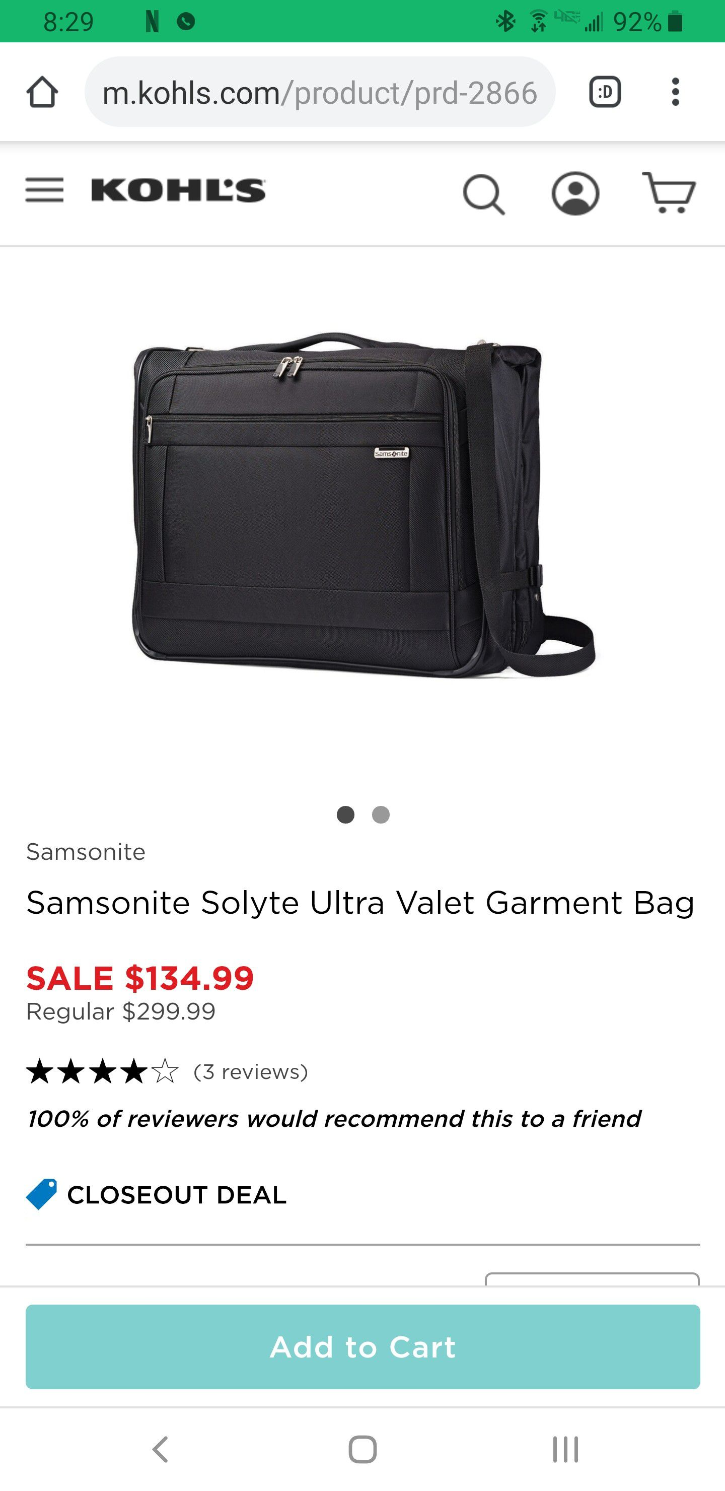 New Durable Samsonite Garment Bag for Travel