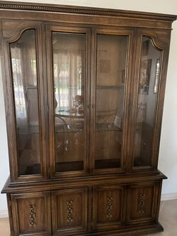 China Cabinet  Dark Brown Good Condition 2 Piece $125  OBO 57X77 In. Thumbnail