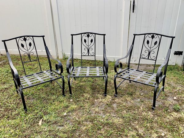 Set 3 Heavy Black Metal Outdoor Chairs For Sale In Davie