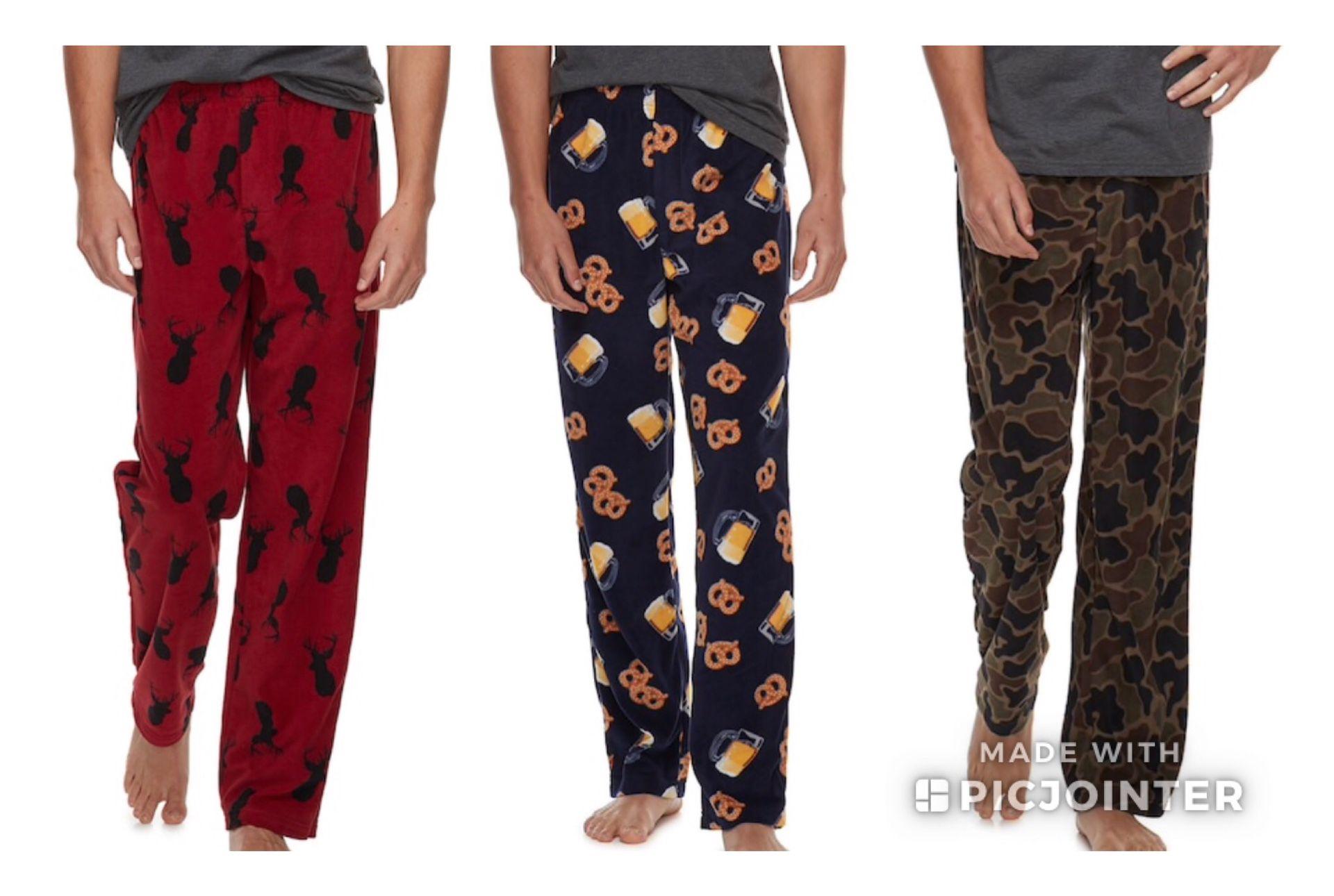 New Men's Patterned Microfleece Pants Size M L XL