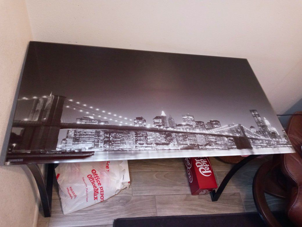 Glass Top Brooklyn Bridge Computer desk