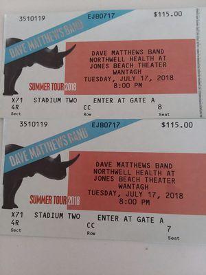 Dave Matthews @ Jones Beach 7/17 for Sale in New York, NY