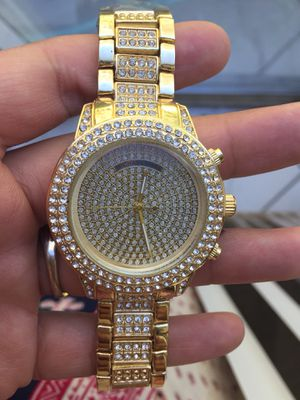 Mk Michael Kors gold Tone unisex men women crystal watch jewelry for Sale in Silver Spring, MD