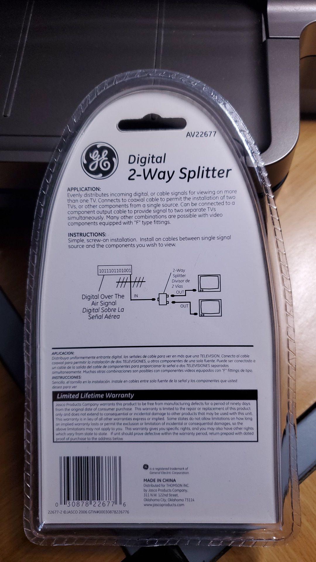GE DIGITAL 2-WAY SPLITTER / ULTRA PROGRADE AV22677