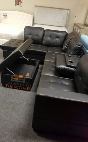 Brand New Black Faux Leather Sectional Sofa Couch + Storage Ottoman for Sale in Wheaton-Glenmont, MD