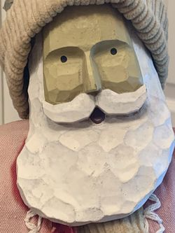 """Unique Vintage 20"""" Carved Resin Face Santa with Foam Body on Wood Stand Pincone Thumbnail"""