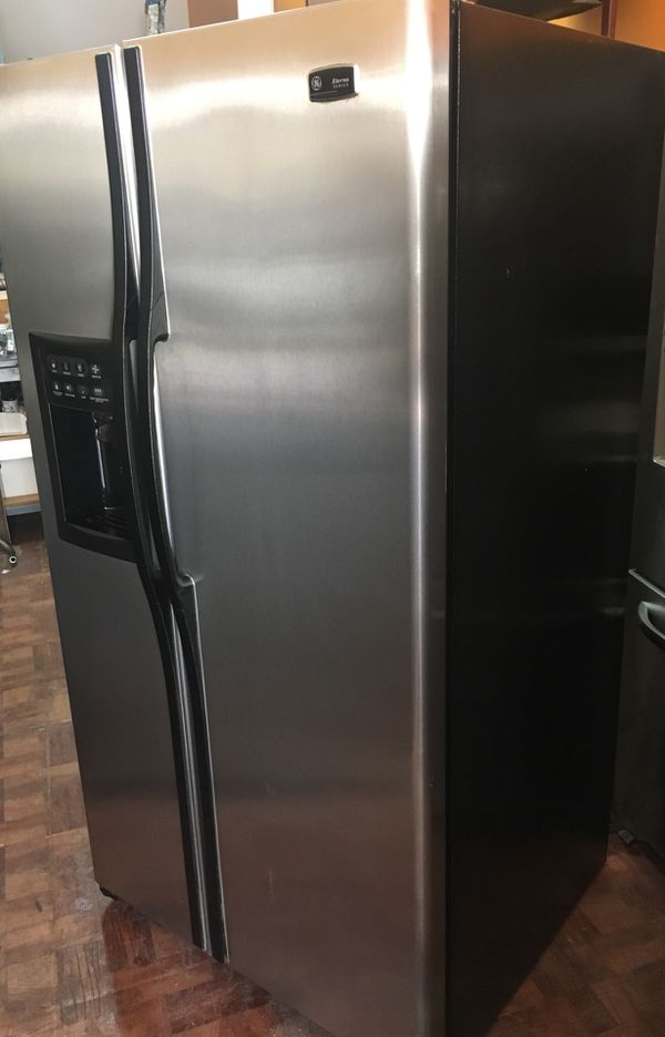 Ge eterna series brushed stainless steel side by side door fridge open in the appcontinue to the mobile website publicscrutiny Gallery