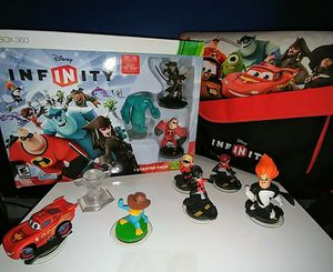 Disney INFINITY Xbox 360 Bundle - Mint Condition, Starter pack, Play Zone Bag, & 7 additional Figures for Sale in Wichita, KS