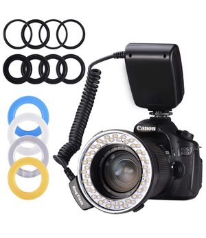 Ring Flash,Emiral 48 Macro LED Ring Flash Bundle with LCD Display Power Control, Adapter Rings and Flash Diffusers for Camera and Other DSLR Cameras for Sale in Miami, FL