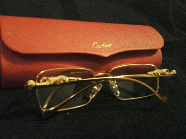 Cartier Gold Exclusive Eyeglass Frames Vintage with Cheetah on sides ...