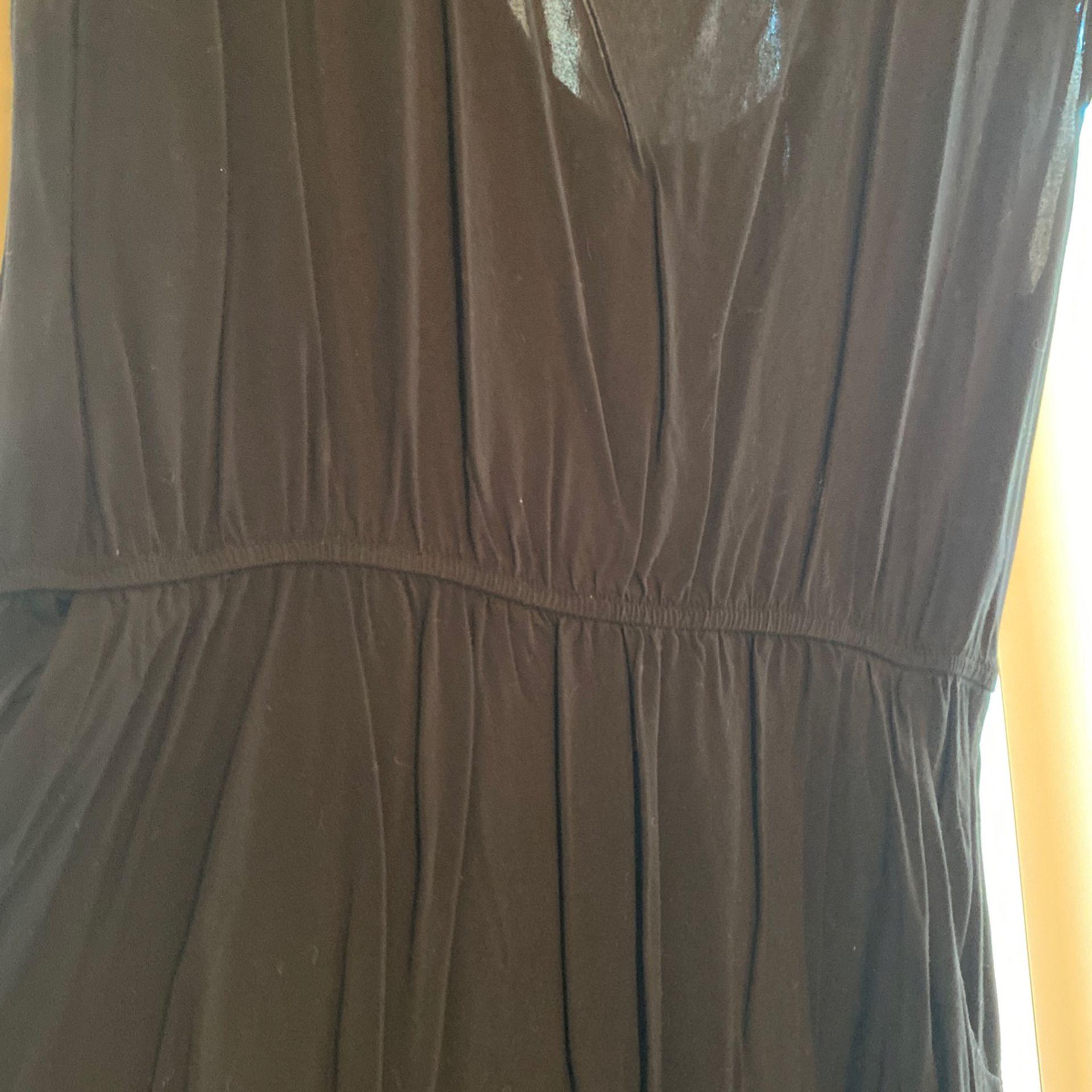 Black Viscose Dress With Pockets