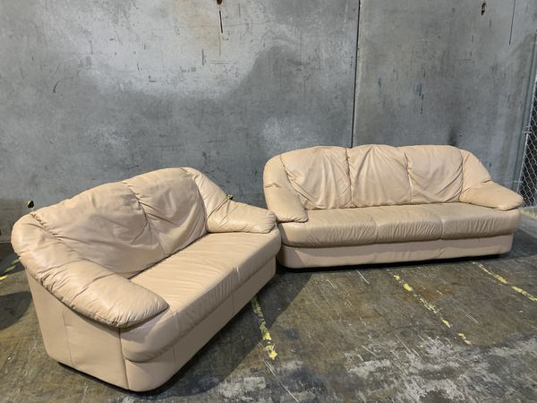 Cream Leather Sofa & Loveseat Set - Family Furniture for Sale in Portland,  OR - OfferUp