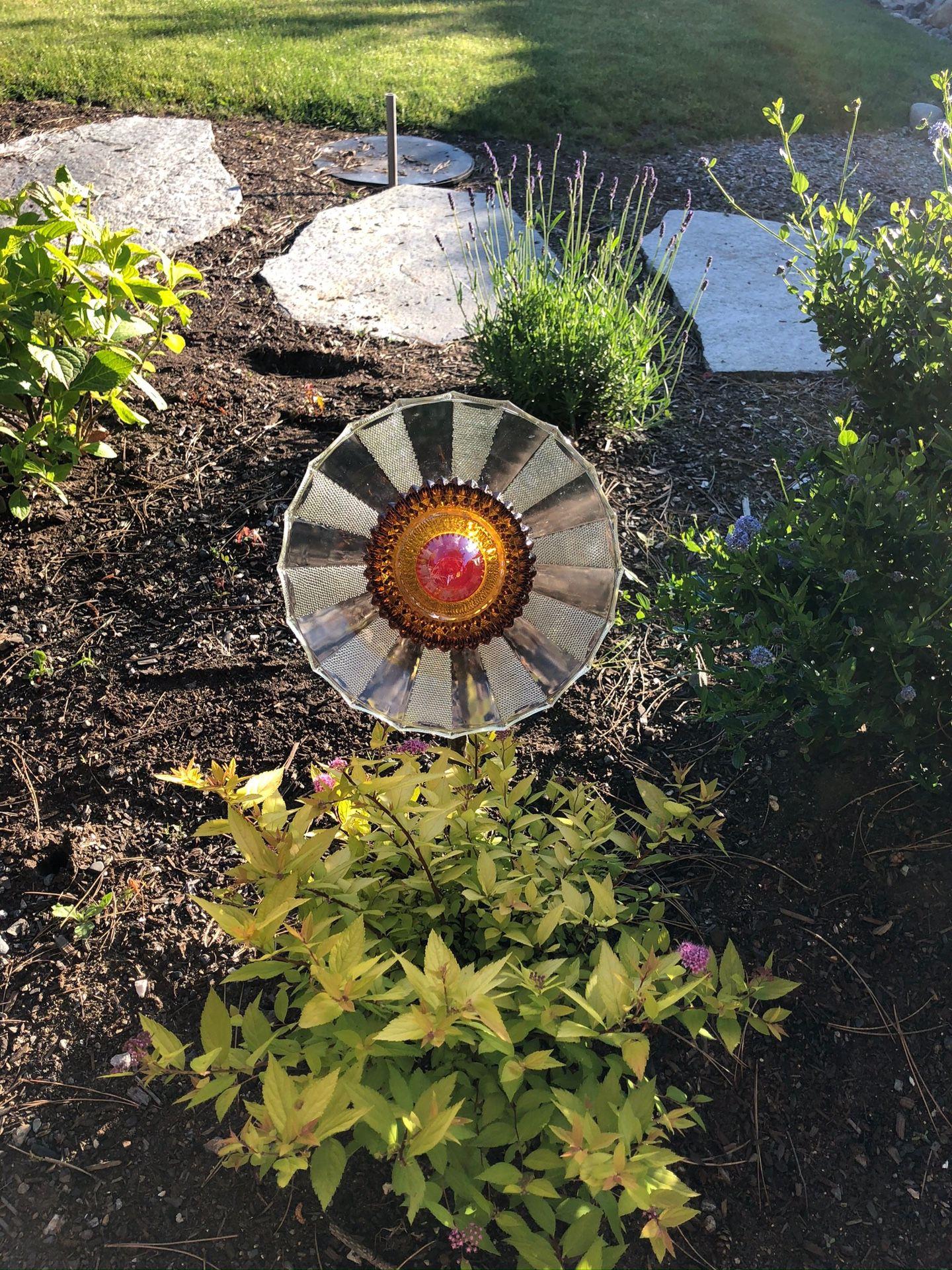 Glass plates flower garden art decoration