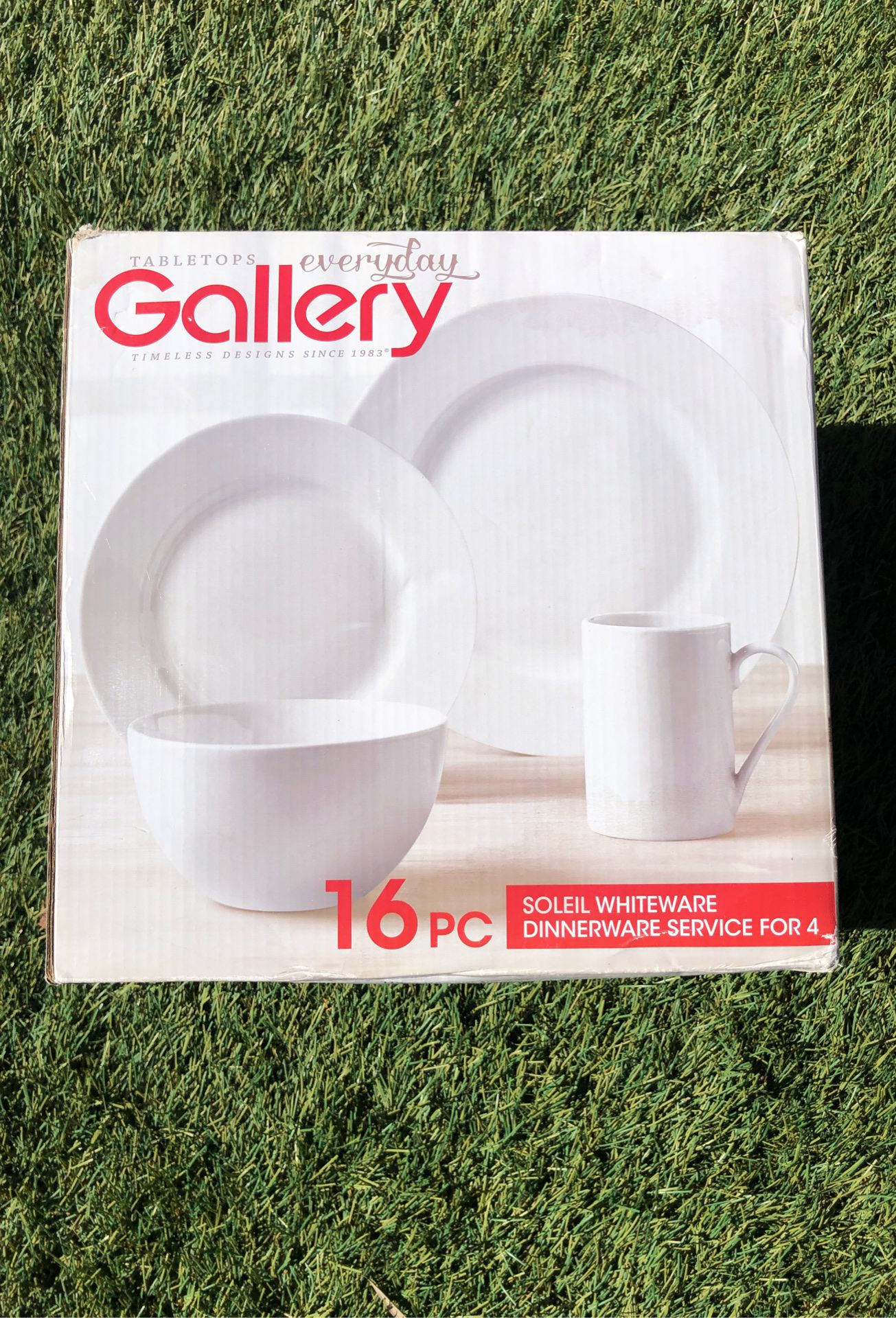 New plates, dishes, bowls and mugs - 16 piece white dinnerware set for 4 - Tabletop everyday gallery