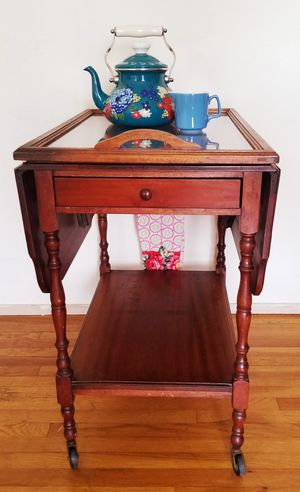 Photo Bar Cart Tea Cart Vintage Hawthorne Double Drop Leaf Tea Bar Cart Rolling Serving Tray All Wood