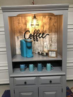 Hutch Coffee bar, coffee station hutch. Reclaimed wood farmhouse decor Thumbnail