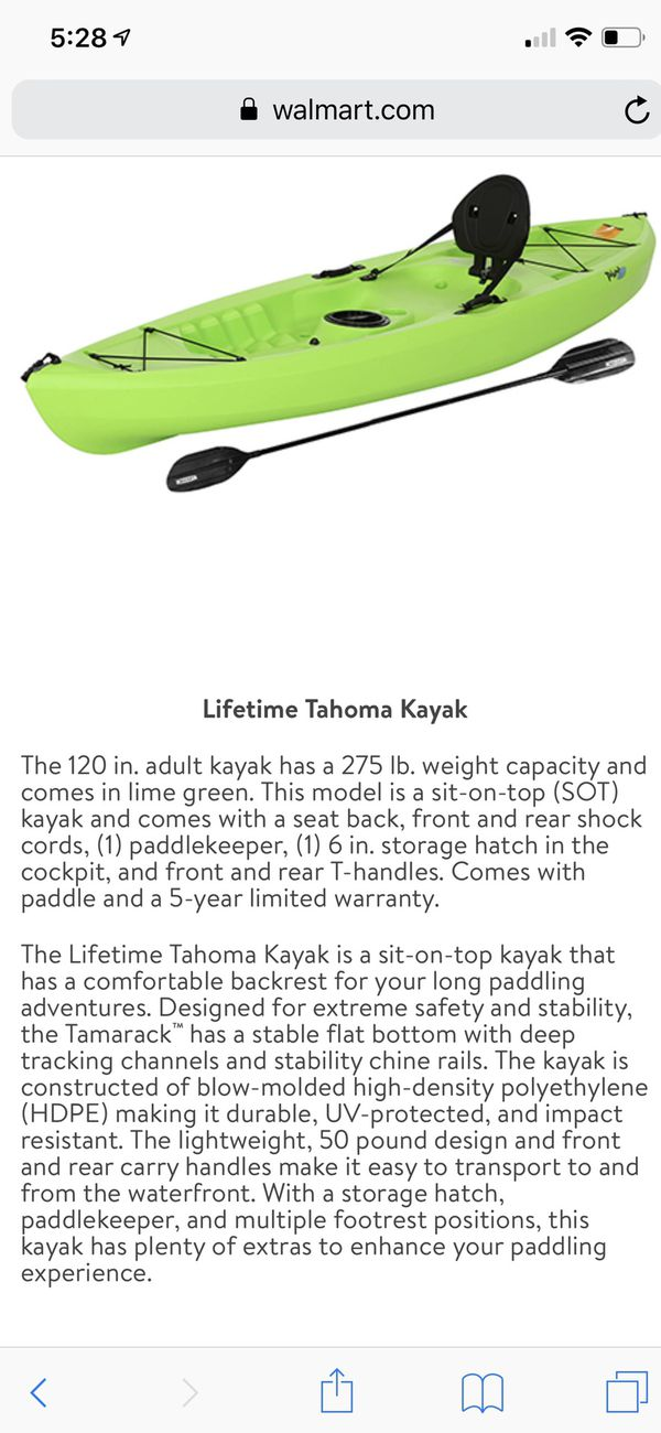 Lifetime Tahoma Kayak Lime Green for Sale in Bonney Lake, WA