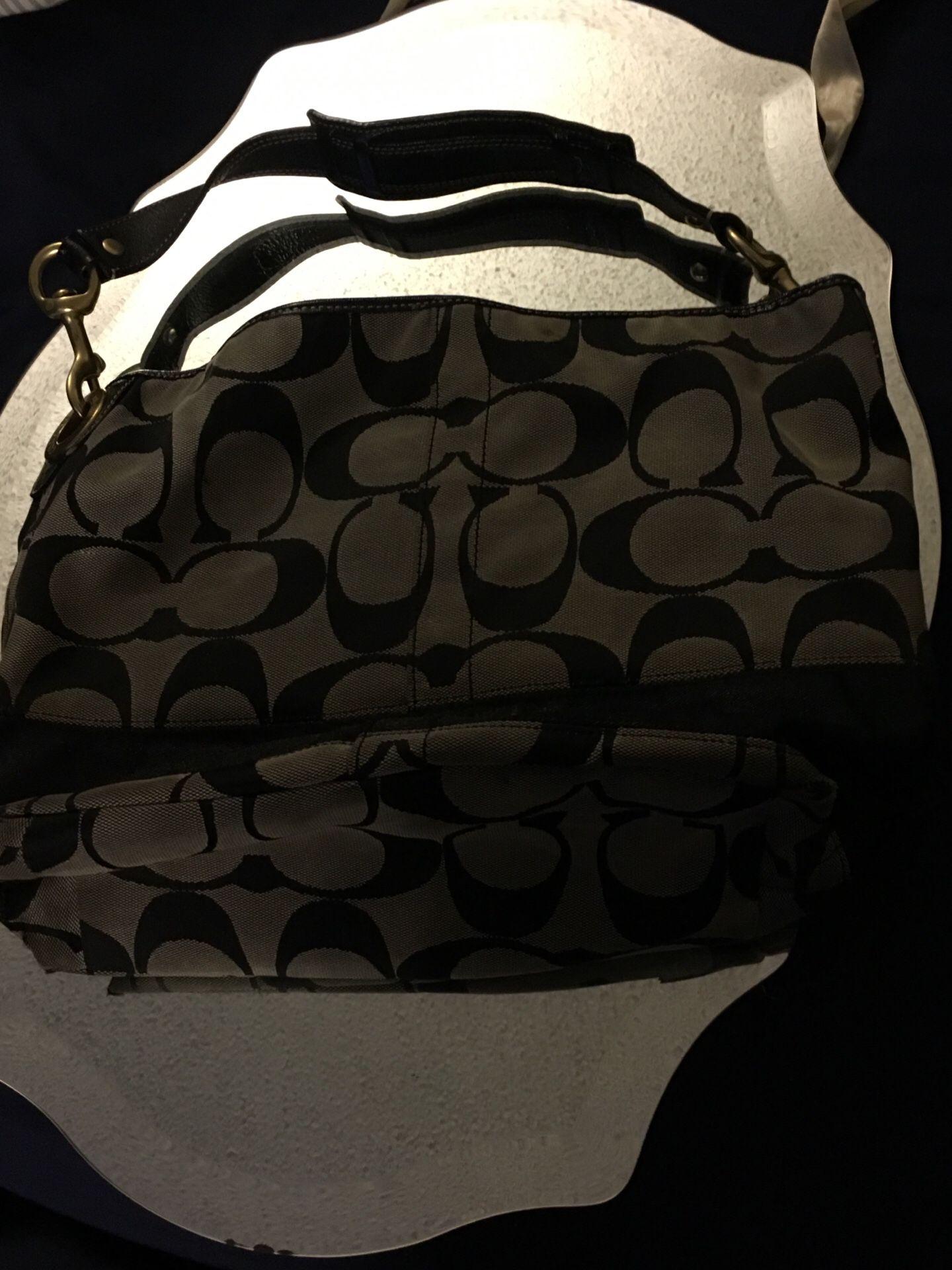 Black & gray coach purse