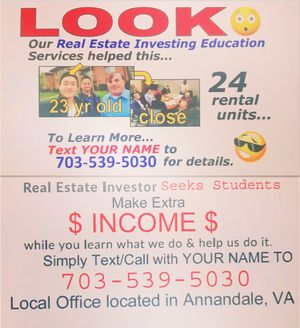 Real estate Investing meeting complementary for Sale in North Springfield, VA