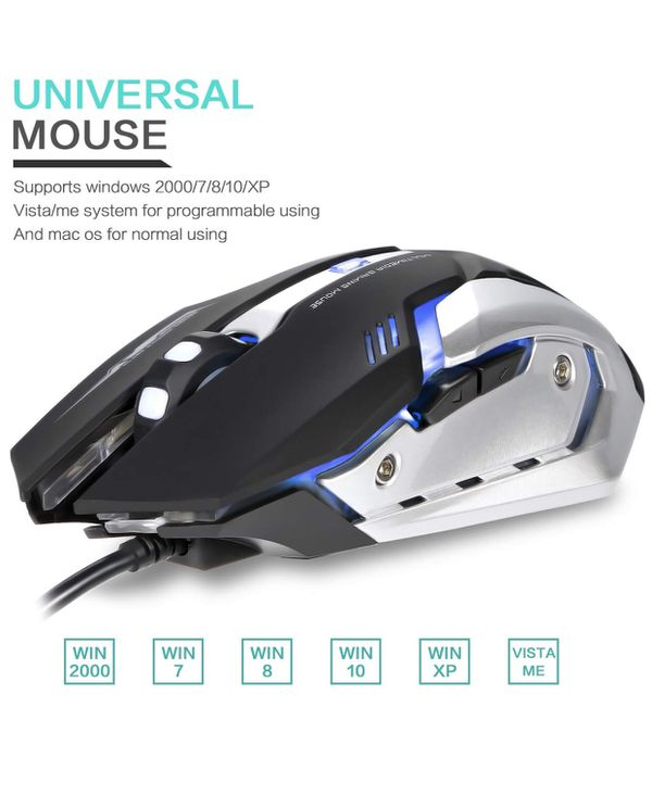 6f76fad3dad LINGYI Wired Gaming Mouse, 4 Adjustable DPI Levels, 6 Programmable Buttons  and 4 Circular & Breathing LED Light, Light Up Computer PC USB Mouse Used