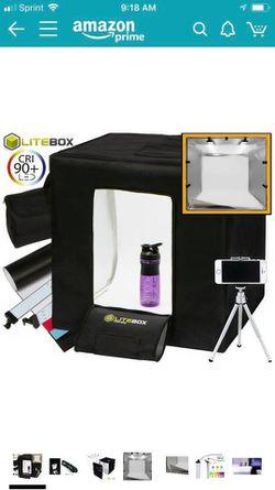"""LITEBOX Pro-240: Large 24"""" x 24"""" LED Photo Studio Lighting Kit in a Box - 4 Seamless PVC Backdrops Thumbnail"""