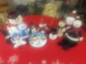 10 snowmen and plate for Sale in PA, US