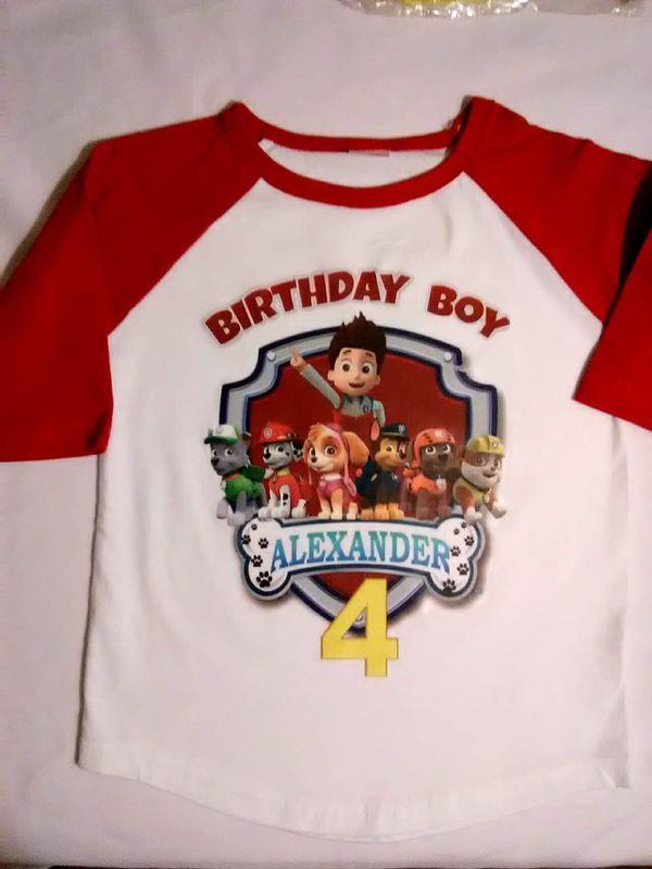 Paw Patrol Birthday Shirt Baseball Tee