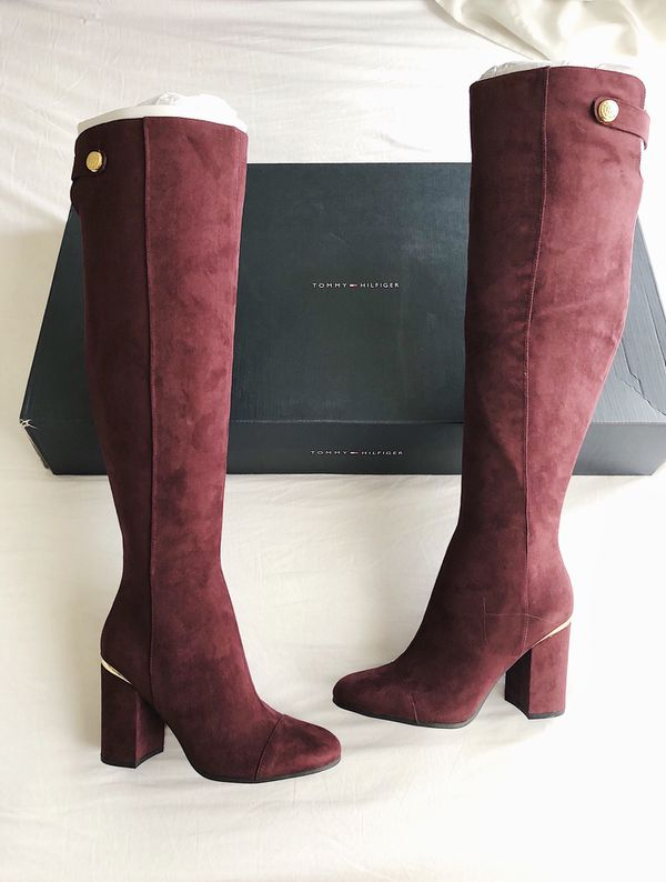 cd6c2700bae New TOMMY HILFIGER Narzel Block Heel Tall Boots Women s Shoes Size 7.5M  Dark Red
