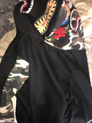 Bape Shark Full Zip Hoodie Camo Hood Black for Sale in Aspen Hill, MD